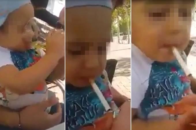 Criança com cerveja e cigarro