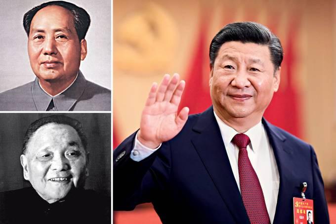 Lendas – Mao Tsé-tung (à esq., no alto), Deng Xiaoping e Xi Jinping (acima): os líderes mais poderosos da China comunista