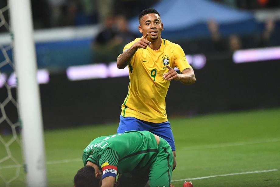 Gabriel Jesus marca gol durante jogo Brasil e Chile na Arena Allianz Parque, na zona Oeste da capital paulista - 10/10/2017