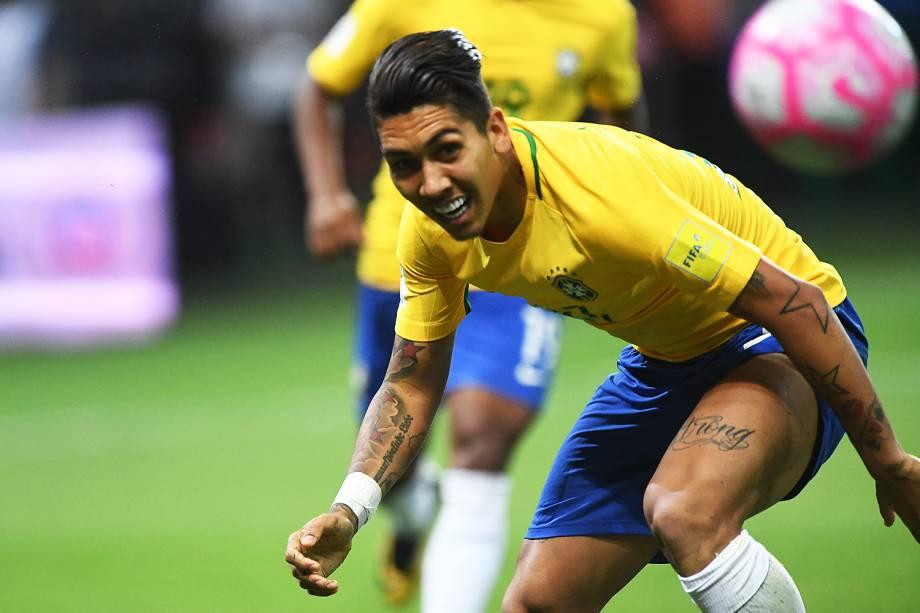 Firmino durante jogo Brasil e Chile na Arena Allianz Parque, na zona Oeste da capital paulista - 10/10/2017