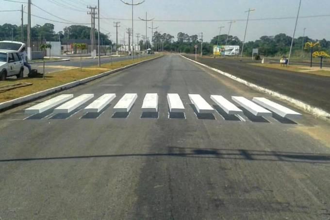 Faixa de pedestre 3D em Cuiabá