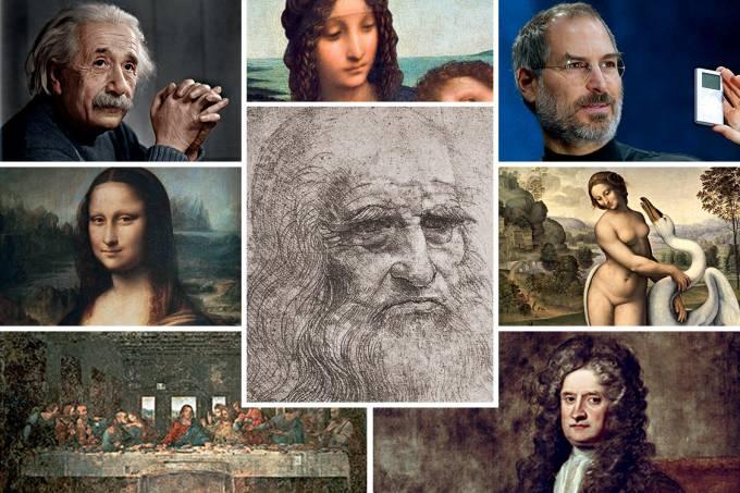 Mentes brilhantes – Da Vinci, rodeado por Einstein (no alto, à esq.), Jobs (no alto, à dir.), Newton (abaixo, à dir.) e seus quadros célebres: genialidade é acertar um alvo que ninguém vê