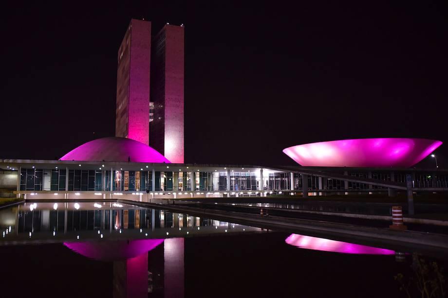 Congresso Nacional recebe iluminação da campanha Outubro Rosa e chama a atenção da sociedade para a prevenção do câncer de mama - 03/10/2017