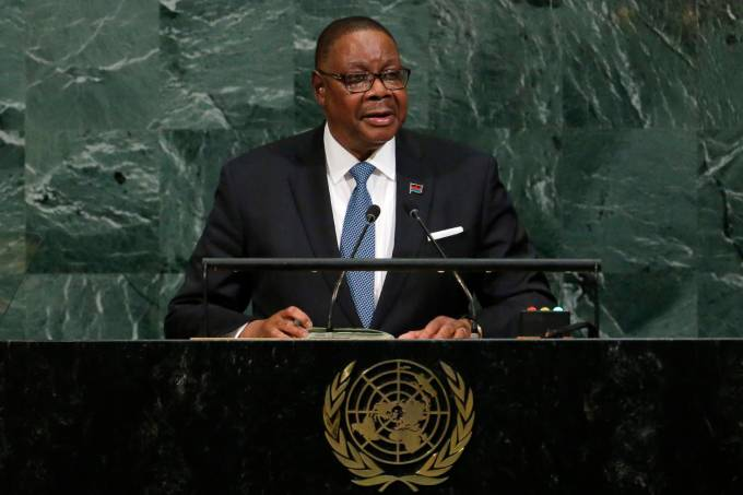 O presidente de Malawi, Arthur Peter Mutharika, fala na ONU