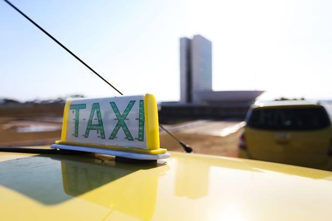 Protesto de taxistas em frente ao Congresso Nacional, em Brasília (DF) – TAXI