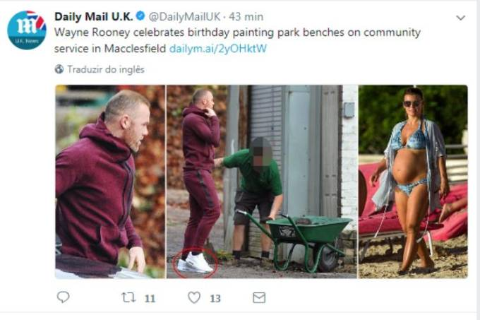 Wayne Rooney prestou serviços comunitários em Macclesfield, na Inglaterra