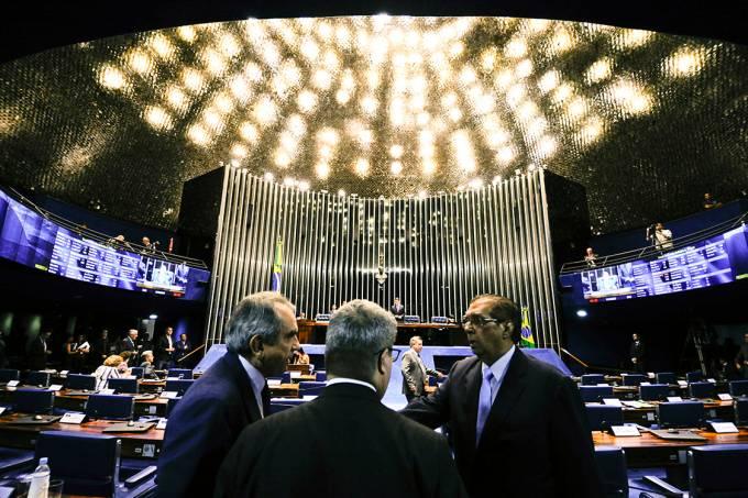 Plenário do Senado durante votação sobre afastamento de Aécio Neves