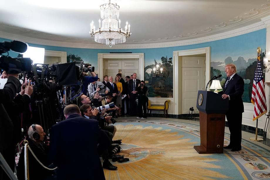 O presidente dos Estados Unidos, Donald Trump, faz pronunciamento após ataque em Las Vegas - 02/10/2017