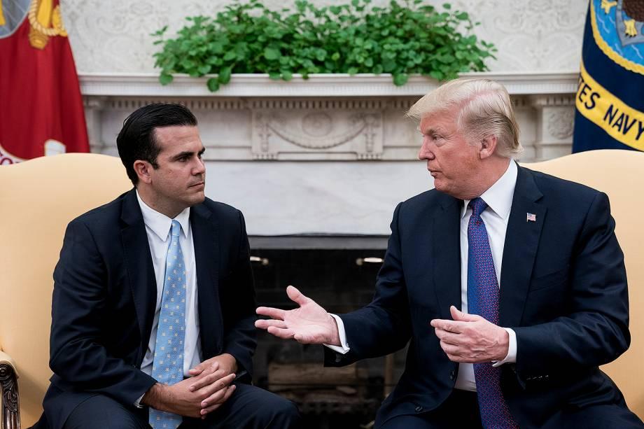 O governador de Porto Rico, Ricardo Rosselló, se reúne com o presidente dos EUA, Donald Trump, em Washington - 19/10/2017
