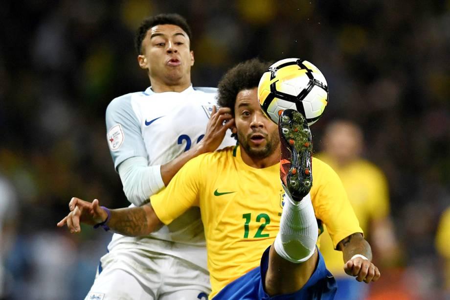 Marcelo durante lance no amistoso contra a Inglaterra, em Londres - 14/11/2017