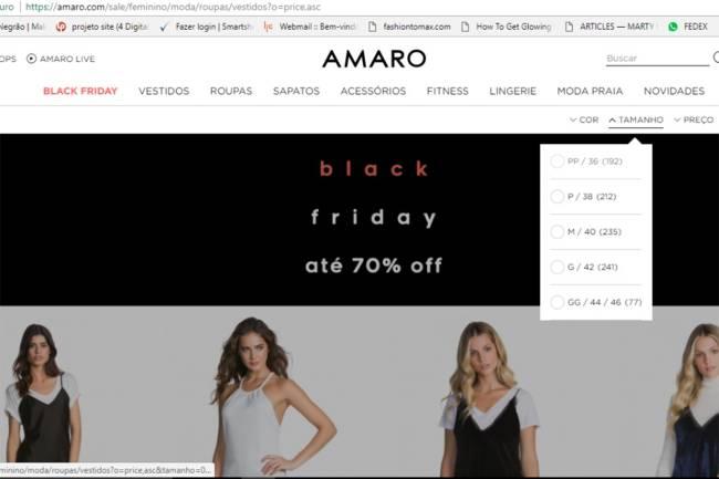 Black Friday no site da Amaro