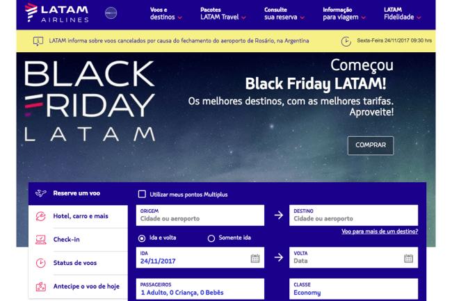 Black Friday: Ofertas de passagens aéreas na Latam