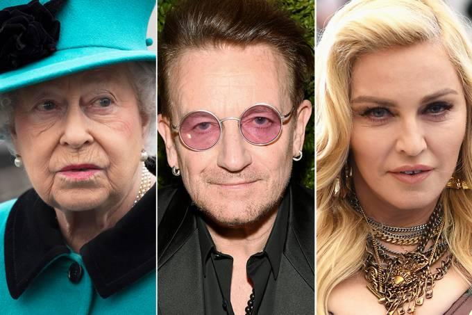 Rainha Elizabeth, Bono, da banda U2, e a cantora Madonna