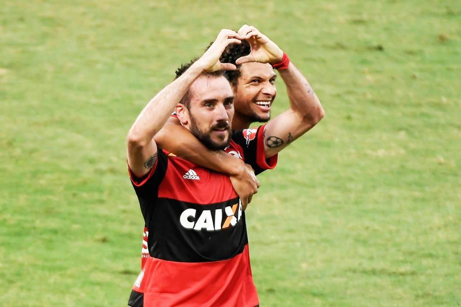 Mancuello comemora gol durante partida entre Flamengo e Corinthians, no Estadio Luso Brasileiro (Ilha do Urubu), no Rio de Janeiro (RJ) - 19/11/2017