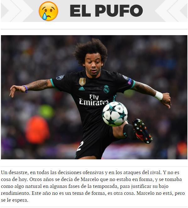 """Marcelo é tratado como a """"enganação"""" do Real Madrid no jogo"""
