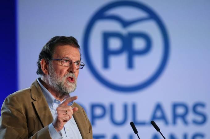O chefe de governo espanhol, Mariano Rajoy, em Barcelona