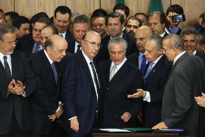 Michel Temer durante cerimônia de posse aos novos ministros de seu governo, no Palácio do Planalto – 12/05/2016