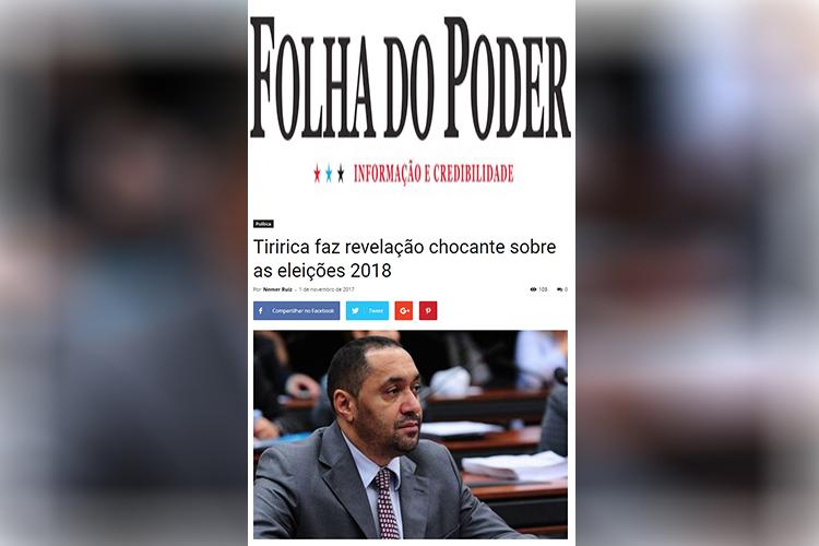 Notícia falsa sobre declaração de Tiririca (PR-SP)