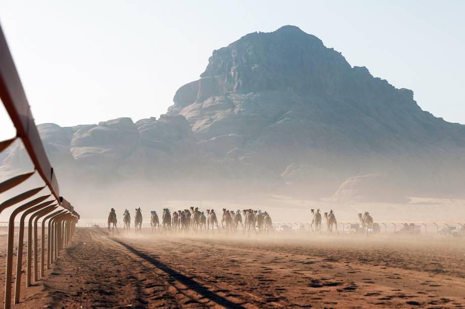 Camelos disputam corrida de 5km, em evento que ocorre anualmente no vale de Wadi Rum, na Jordânia - 02/11/2017