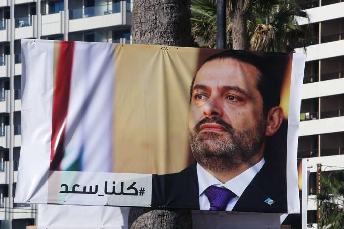 Cartaz do primeiro-ministro libanês, Saad al-Hariri, é visto em Beirute, Líbano