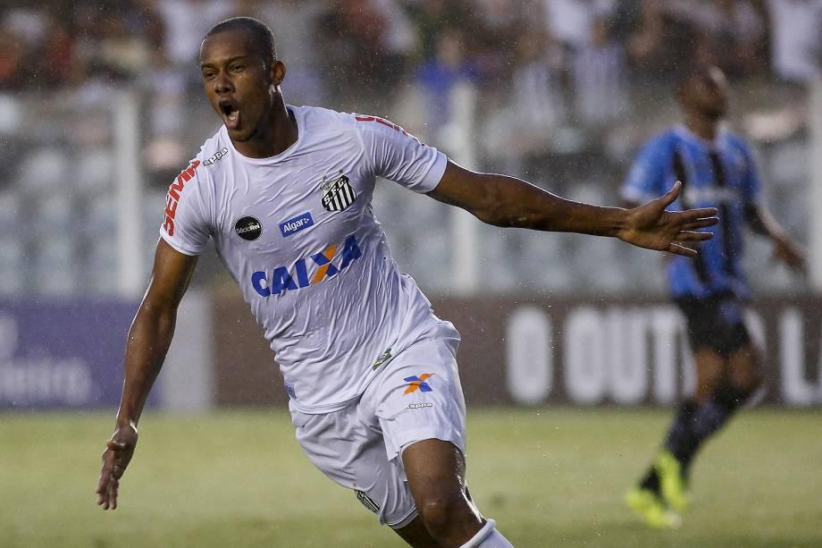 Comemoração do primeiro gol do Santos, marcado por Copete durante o jogo contra o Grêmio realizado na Vila Belmiro, em Santos - 19/11/2017