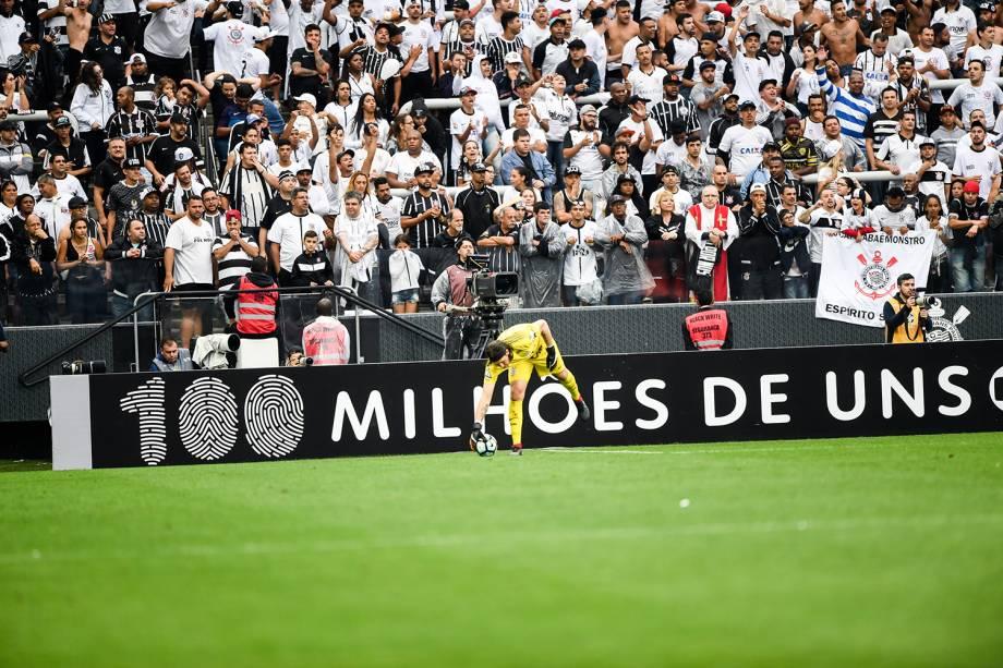 Cássio durante partida entre Corinthians e Palmeiras, na Arena Corinthians na zona leste de São Paulo, válida pela 32ª rodada do Campeonato Brasileiro 2017 - 05/11/2017