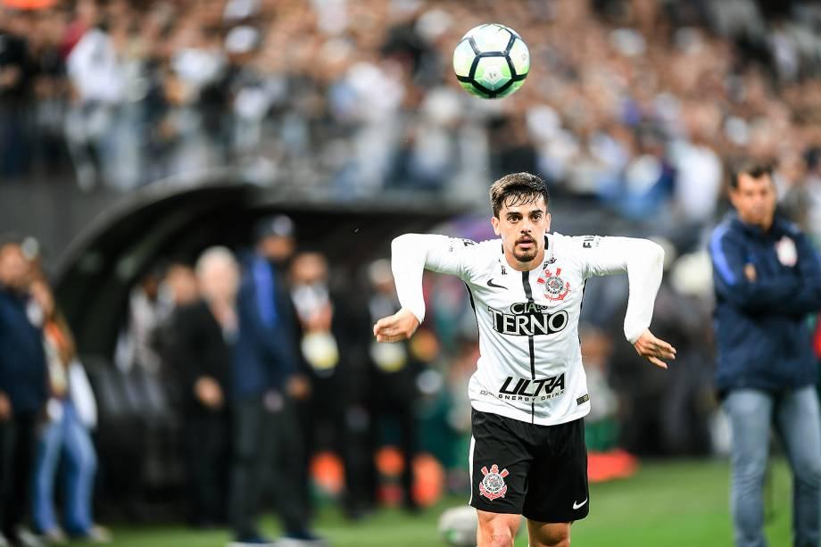 O jogador Fagner jogo entre Corinthians e Palmeiras realizado na Arena Corinthians, Zona Leste de São Paulo. O Derby é válido pela 32ª rodada do Brasileirão 2017 - 05/11/2017
