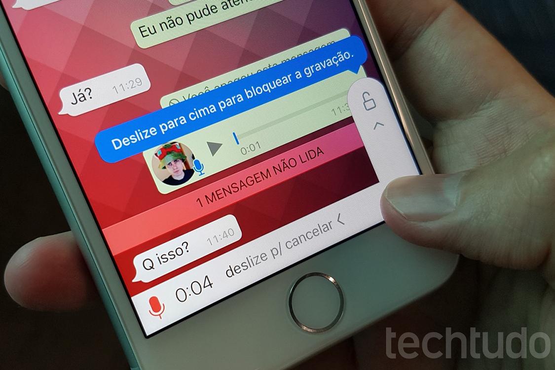Gravação de mensagem de voz no WhatsApp