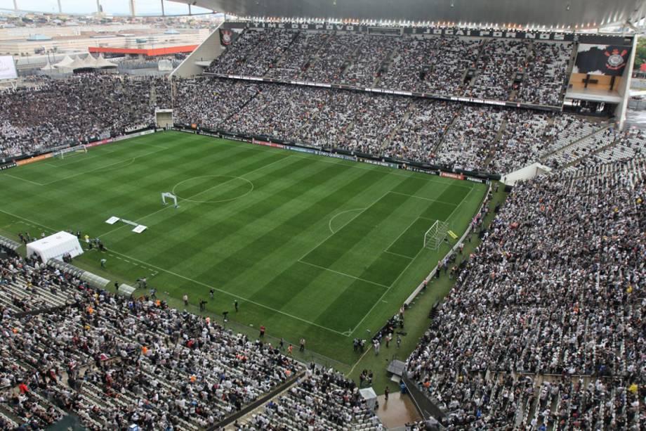 Estádio do Itaquerão lotado minutos antes do início do clássico entre Palmeiras e Corinthians, válida pelo Campeonato Brasileiro 2017