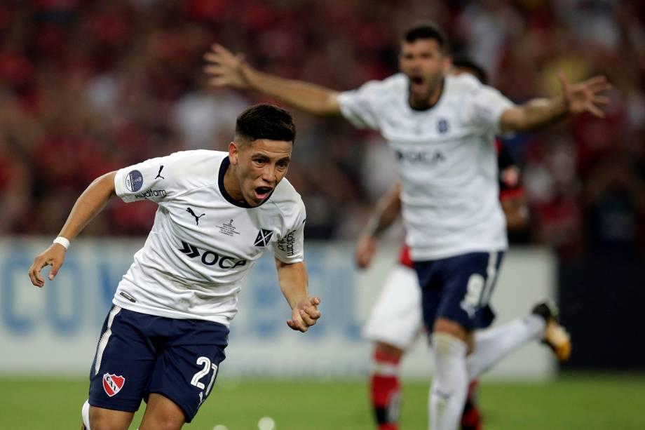 Ezequiel Barco, do Independiente, comemora gol contra o Flamengo, pela Copa Sul-Americana, no Maracanã