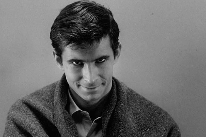 "Anthony Perkins no filme ""Psicose"", de Alfred Hitchcock."