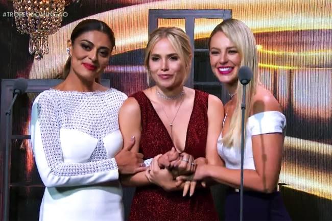 As indicadas ao troféu de melhor atriz no Troféu Domingão - Melhores do Ano 2017: Juliana Paes, Leticia Colin e Paolla Oliveira