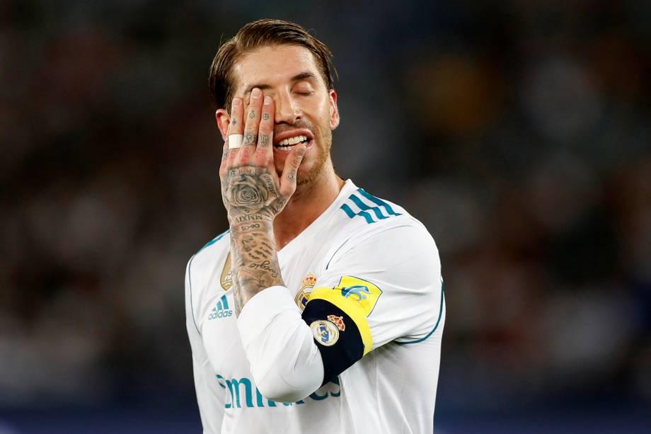 O jogador do Real Madrid, Sergio Ramos, durante partida contra o Grêmio, válida pela final do Mundial de Clubes da FIFA, realizada no Estádio Xeique Zayed, em Abu Dhabi - 16/12/2017