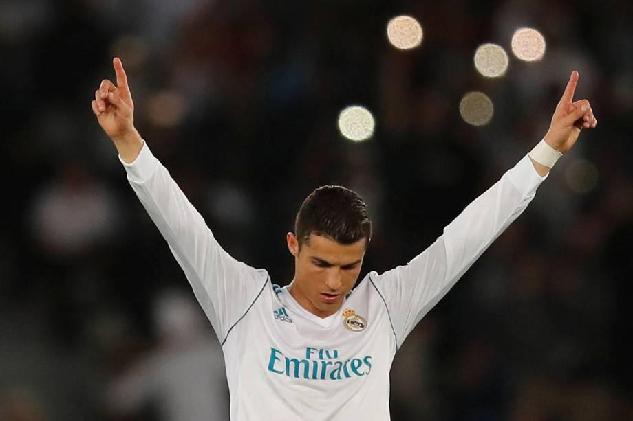 Cristiano Ronaldo comemora após o Real Madrid conquistar o título do Mundial de Clubes da FIFA - 16/12/2017