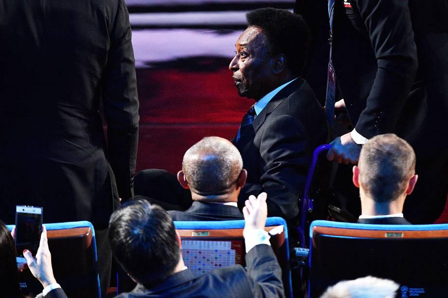 Pelé durante sorteio dos grupos da Copa do Mundo 2018, no palácio do Kremlin, Rússia - 01/12/2017