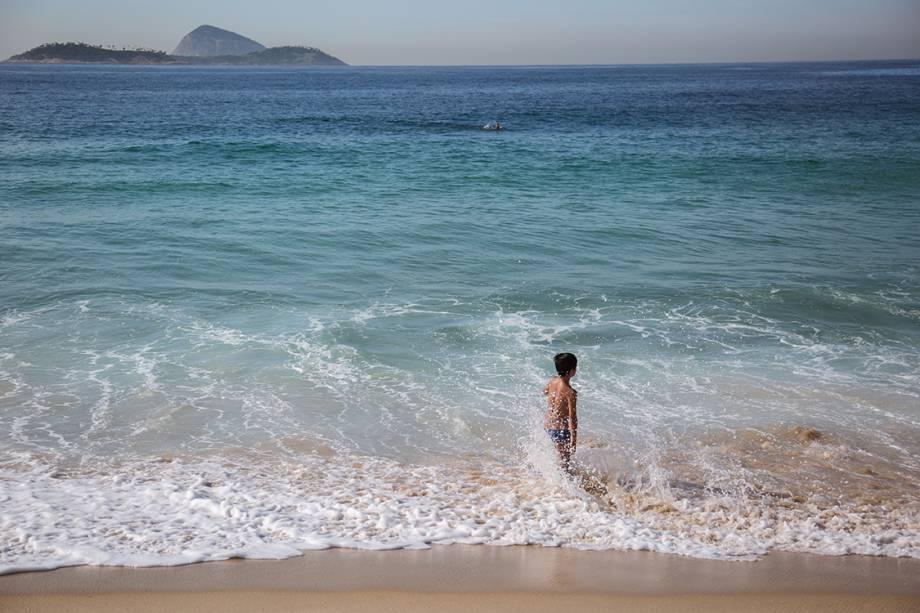 Vista da praia do Leblon, no Rio de Janeiro