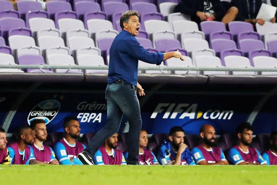O técnico Renato Gaúcho, do Grêmio, durante partida contra o Pachuca, pela semifinal do Mundial de Clubes, nos Emirados Árabes