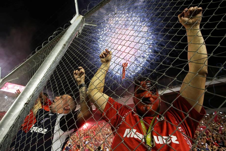 Torcedores do Independiente, durante o primeiro jogo da final da Copa Sul-Americana contra o Flamengo, em Bueno Aires