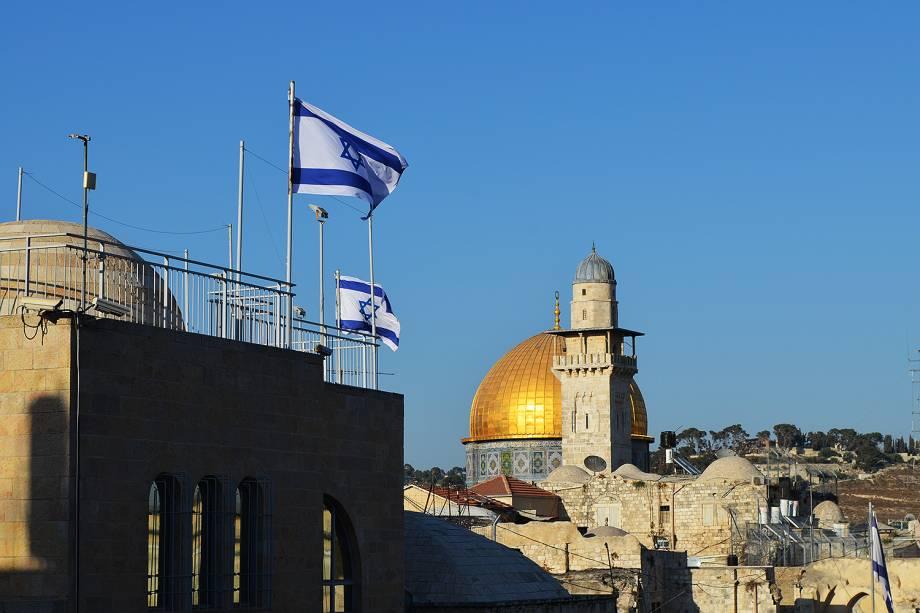 Cúpula da Rocha ou Domo da Rocha, situado no monte do Templo, na Cidade Velha de Jerusalém
