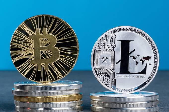 Moedas Bitcoin e Litecoin