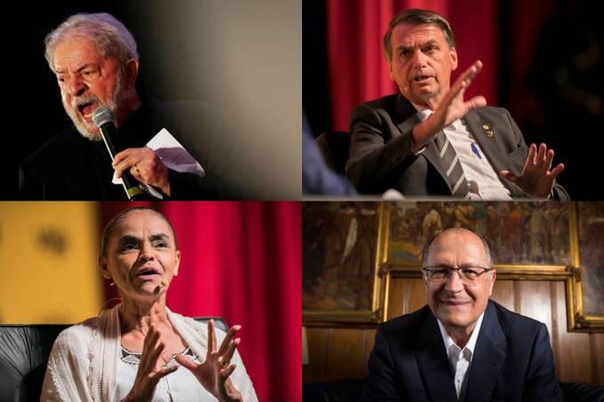 Lula, Bolsonaro, Marina Silva e Geraldo Alckmin