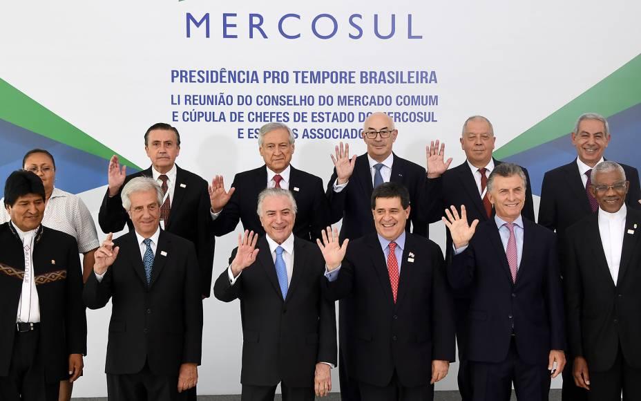 O presidente Michel Temer durante a 51ª edição da Cúpula dos Chefes de Estado do Mercosul, no Palácio do Itamaraty, em Brasília - 21/12/2017
