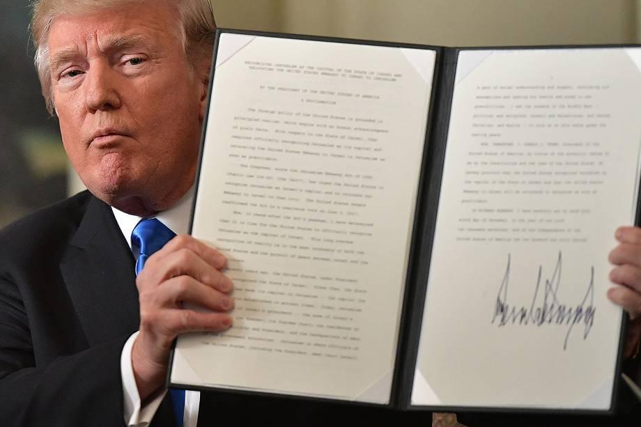 Donald Trump reconhece Jerusalém capital de Israel durante discurso na Casa Branca em Washington - 06/12/2017