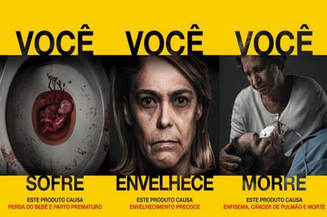 Imagens de novas advertências em embalagens de cigarros divulgadas pela Anvisa: perda do bebê e parto prematuro, envelhecimento precoce; enfisema, câncer de pulmão e morte