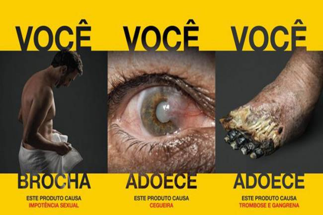 Imagens de novas advertências em embalagens de cigarros divulgadas pela Anvisa: impotência sexual, cegueira, trombose e gangrena