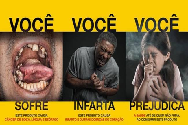 Imagens de novas advertências em embalagens de cigarros divulgadas pela Anvisa: câncer de boca, língua e esôfago; infarto, entre outros