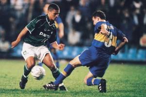 Alex, do Palmeiras, contra o Boca Juniors, no primeiro jogo da final da Taça Libertadores, no Estádio La Bombonera