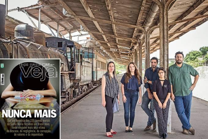 Ontem e hoje – A capa de 2013 e a equipe em Santa Maria: da esquerda para a direita, Marilice Daronco, Natália Luz, Silvio Navarro, Mílibi Arruda e Jonne Roriz