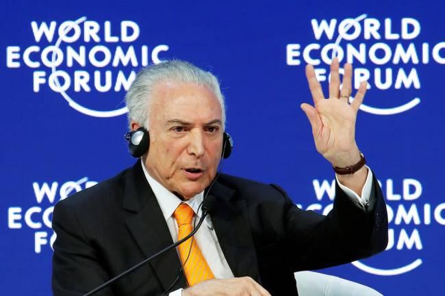 O presidente da República, Michel Temer, participa do Fórum Econômico Mundial, realizado em Davos, na Suíça - 24/01/2018