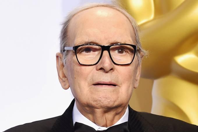 O compositor Ennio Morricone durante o Oscar 2016